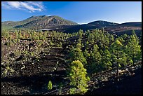Volcanic hills covered with black lava and cinder. Sunset Crater Volcano National Monument, Arizona, USA ( color)