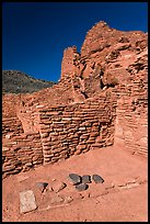 Wall detail, Wupatki Pueblo, Wupatki National Monument. Arizona, USA (color)