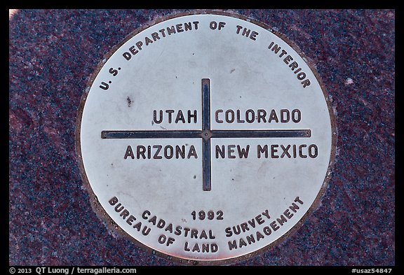 Marker at the exact Four Corners point. Four Corners Monument, Arizona, USA (color)
