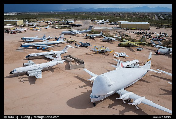 Aerial view of aircraft in Pima Air and space museum. Tucson, Arizona, USA (color)
