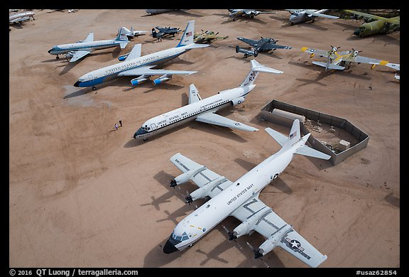 Aerial view of retired aircraft, Pima Air and space museum. Tucson, Arizona, USA (color)