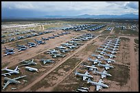 Aerial view of rows of retired military aircraft. Tucson, Arizona, USA ( color)