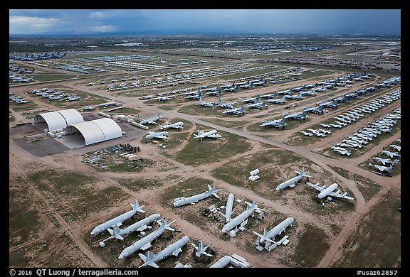 Aerial view of Aircraft Maintenance and Regeneration Group Boneyard. Tucson, Arizona, USA (color)