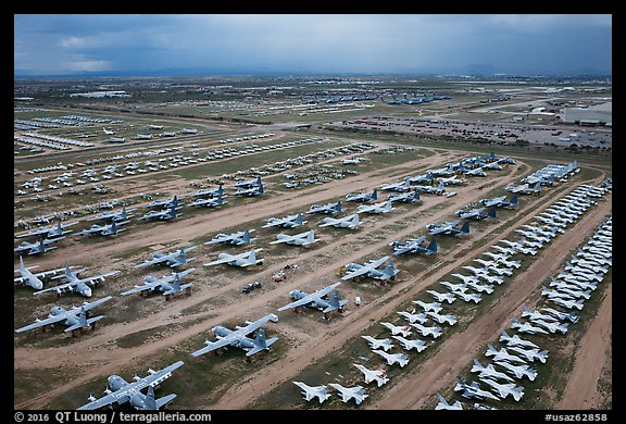 Aerial view of retired military aircraft. Tucson, Arizona, USA (color)