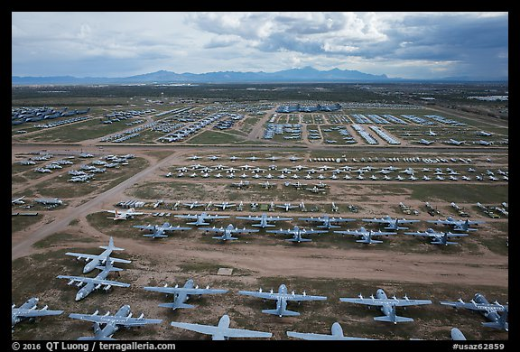 Aerial view of vast field of retired military aircraft. Tucson, Arizona, USA (color)