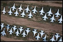 Aerial view of rows of fighter jets. Tucson, Arizona, USA ( color)