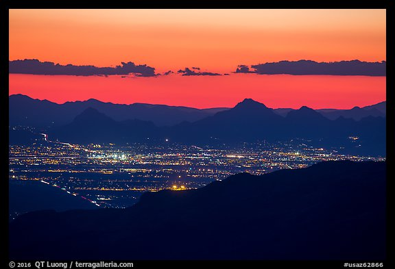 Tucson at sunset from Rincon Mountains. Tucson, Arizona, USA (color)