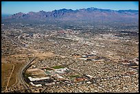 Aerial view of Tucson and mountains. Tucson, Arizona, USA ( color)