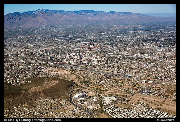 Aerial view of downtown Tucson and Rincon Mountains. Tucson, Arizona, USA (color)