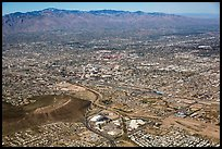 Aerial view of downtown Tucson and Rincon Mountains. Tucson, Arizona, USA ( color)