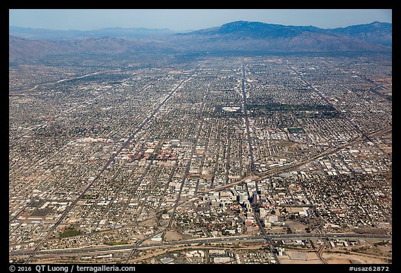 Aerial view of downtown Tucson and street grid. Tucson, Arizona, USA (color)