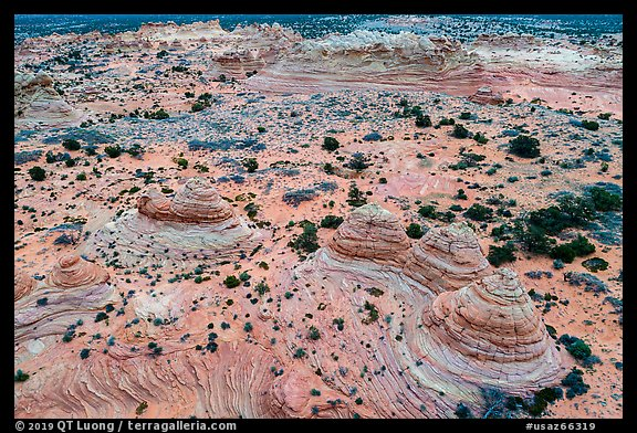 Aerial view of Cottonwood Teepees, Coyotte Buttes South. Vermilion Cliffs National Monument, Arizona, USA (color)