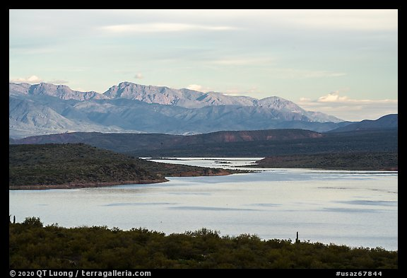 Theodore Roosevelt Lake and Mt Ord at dawn. Tonto Naftional Monument, Arizona, USA (color)
