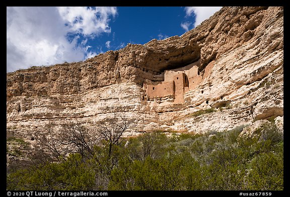 Sinagua cliff dwelling, Montezuma Castle National Monument. Arizona, USA (color)