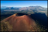 Aerial View of Sunset Crater and San Francisco Mountains. Sunset Crater Volcano National Monument, Arizona, USA ( color)