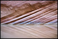 Striations reflected in water, Paria Canyon. Vermilion Cliffs National Monument, Arizona, USA ( color)
