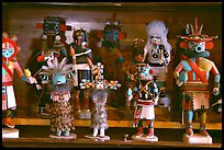Hopi Kachina figures. Hubbell Trading Post National Historical Site, Arizona, USA (color)