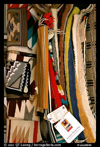 Navajo blankets and rugs for sale. Hubbell Trading Post National Historical Site, Arizona, USA (color)