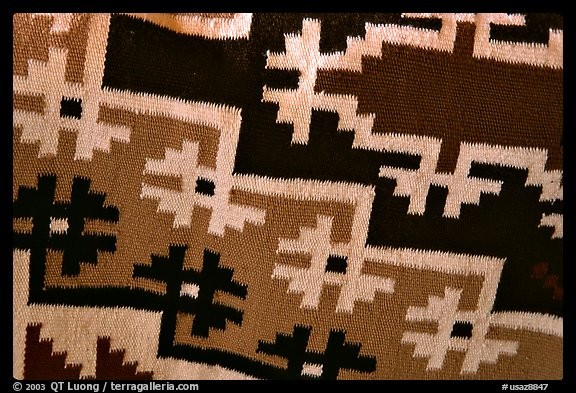 Detail of blanket with Navajo design. Hubbell Trading Post National Historical Site, Arizona, USA (color)