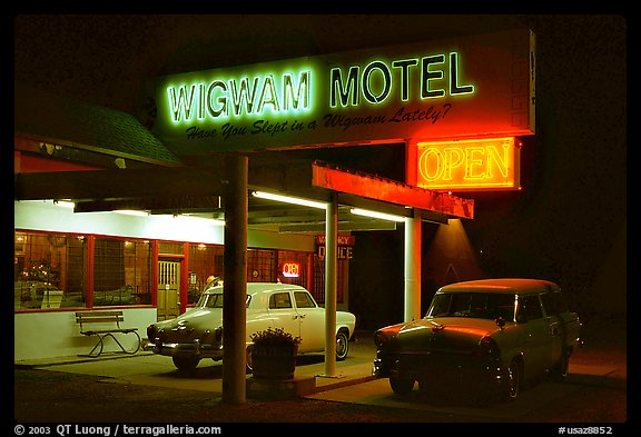 Motel with classic American cars, Holbrook. Arizona, USA (color)