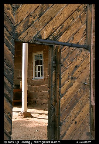 Wooden door of Winsor Castle. Pipe Spring National Monument, Arizona, USA (color)