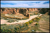 Canyon de Chelly from Tsegi Overlook, mid-morning. Canyon de Chelly  National Monument, Arizona, USA (color)