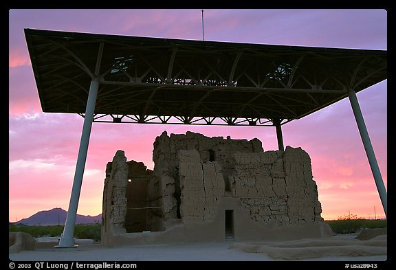 Great house at sunset, Casa Grande Ruins National Monument. Arizona, USA (color)