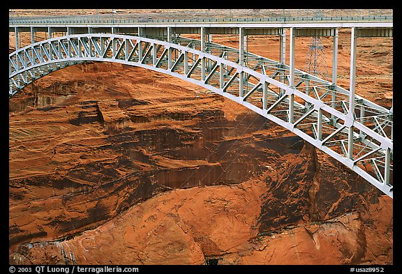 Bridge near the Glen Canyon Dam, Glen Canyon National Recreation Area, Arizona. USA (color)
