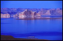 Lake Powell and Castle Rock at dusk, Glen Canyon National Recreation Area, Arizona. USA (color)
