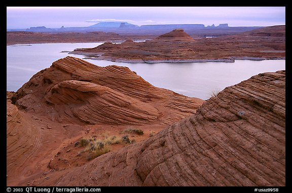 Sandstone Swirls and Lake Powell, Glen Canyon National Recreation Area, Arizona. USA (color)