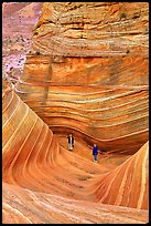 Hikers at the bottom of the Wave. Coyote Buttes, Vermilion cliffs National Monument, Arizona, USA (color)