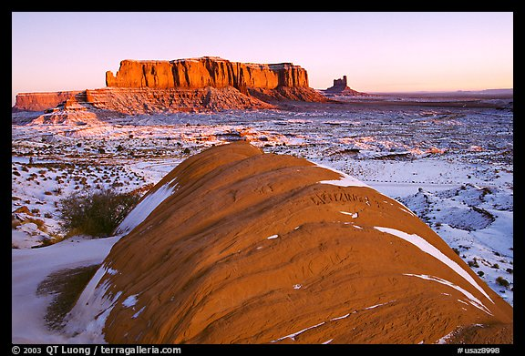 Snowy sunrise. Monument Valley Tribal Park, Navajo Nation, Arizona and Utah, USA (color)