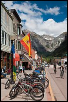 Mountain bikes parked on main street sidewalk. Telluride, Colorado, USA ( color)