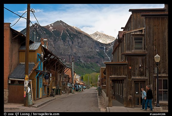 Street with old wooden buildings. Telluride, Colorado, USA (color)
