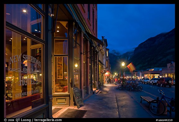 Main street by night. Telluride, Colorado, USA (color)