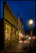 Coffee shop and sidewalk by night. Telluride, Colorado, USA ( color)