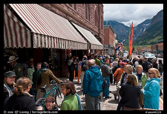 People gathering in front of movie theater. Telluride, Colorado, USA (color)