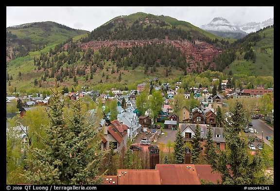 Town and mountains in the spring. Telluride, Colorado, USA (color)