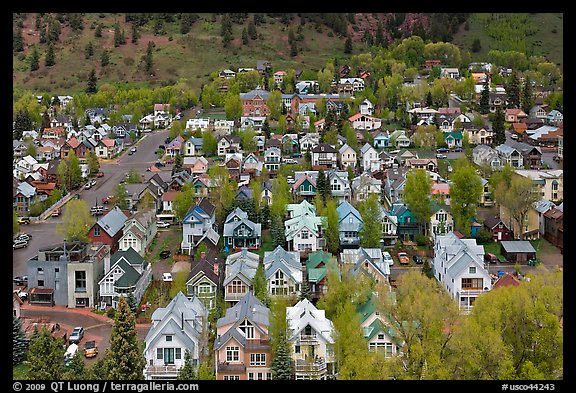 Town seen from above. Telluride, Colorado, USA (color)