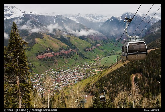 Gondola and valley. Telluride, Colorado, USA (color)