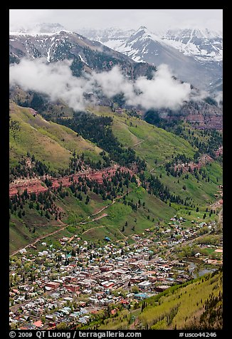 Town in mountain valley. Telluride, Colorado, USA (color)