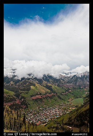 Valley and town seen from above in spring. Telluride, Colorado, USA (color)