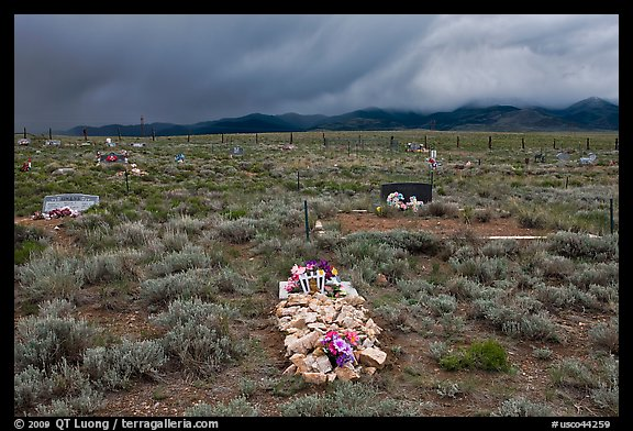Grave made of loose stones, Villa Grove. Colorado, USA (color)