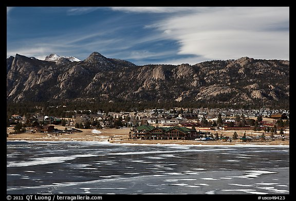 Partly thawed Lake Estes, Estes Park. Colorado, USA (color)