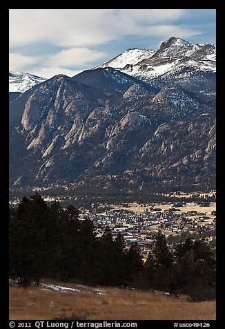 Estes Park, valley, and mountains. Colorado, USA (color)