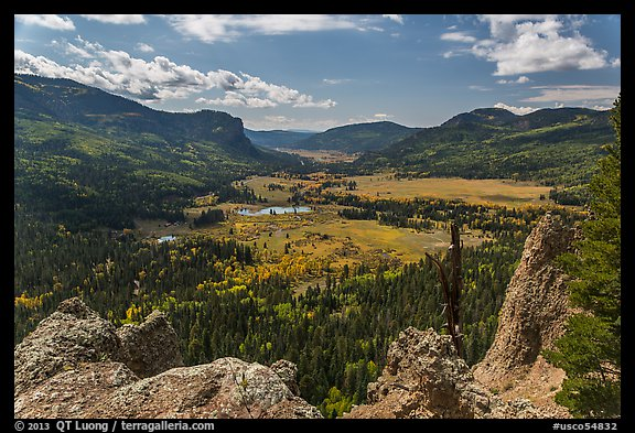 Rocks and valley with autumn colors, Pagosa Springs. Colorado, USA (color)
