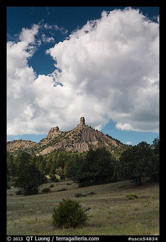 Afternoon clouds over rocks. Chimney Rock National Monument, Colorado, USA (color)