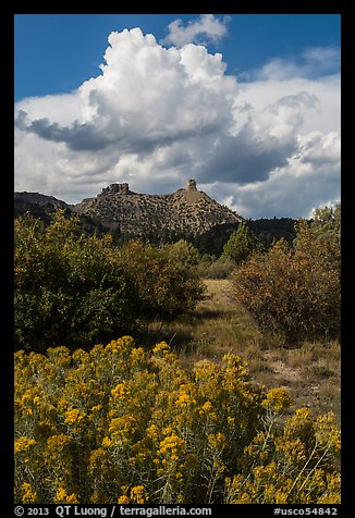 Chimney Rock landscape. Chimney Rock National Monument, Colorado, USA (color)