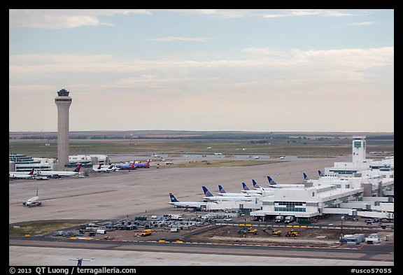 Aerial view of Denver International Airport terminal and control tower. Colorado, USA (color)