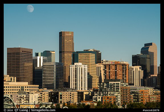 City skyline and moon. Denver, Colorado, USA (color)